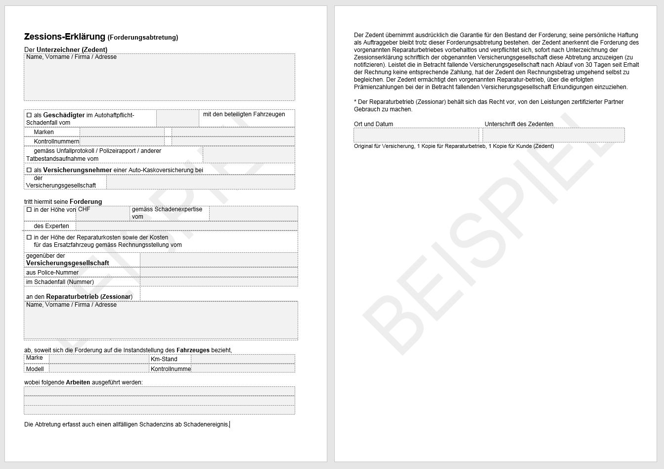 Download Zessions-Erklärung | AGVS | UPSA