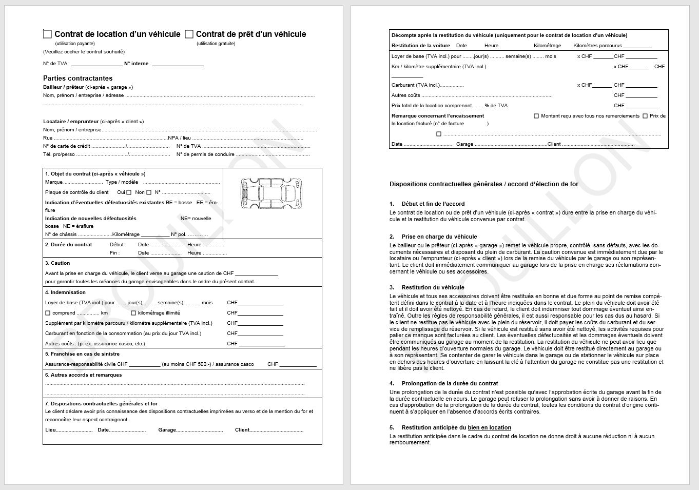 Download contrat de location d 39 un v hicule contrat de for Garage pret voiture