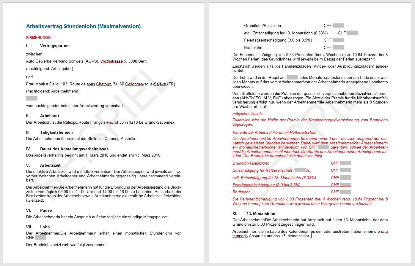 Download arbeitsvertrag stundenlohn agvs upsa for Gesamtarbeitsvertrag innendekorateur