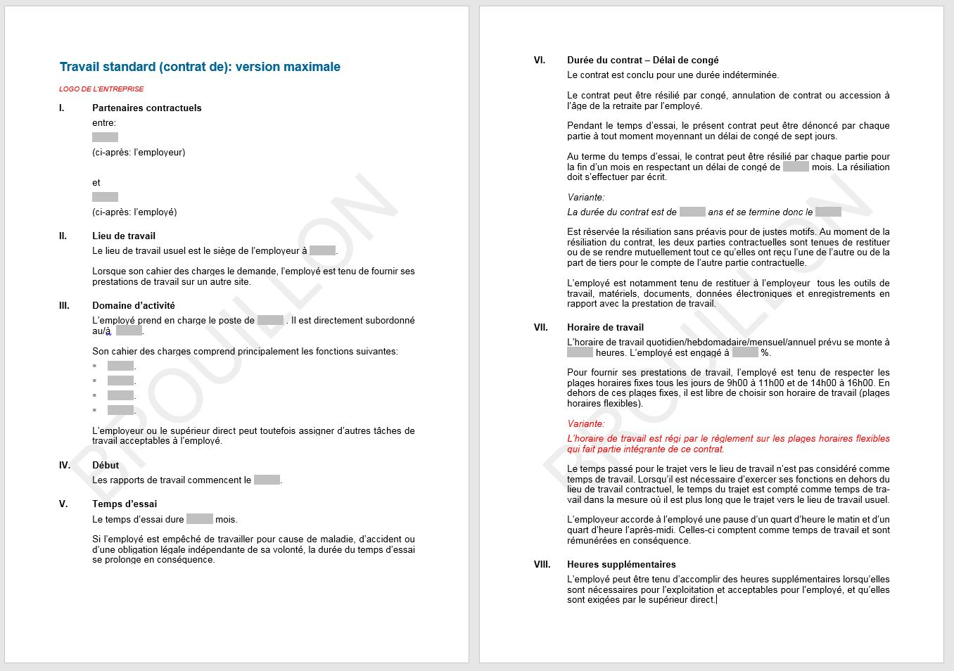 contrat de travail standard Download Contrat de travail standard | AGVS | UPSA contrat de travail standard