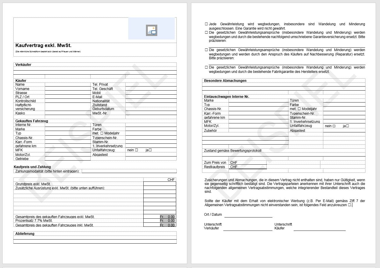 Download Autokaufvertrag (exkl. MWST) | AGVS | UPSA
