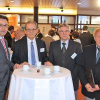 Patrick und Rolf Germann (AGVS-Prüfungsexperten), Heinz Borel (Geschäftsführer KSU-A-Technik) und Paul Güdel (ehemaliger Fachvorstand Fahrzeugelektrik)