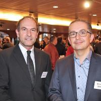 MathiasSönmez (Brains 'n' hands communications, g.) et StephanRissi (directeur marketing et ventes chez Stieger Software)
