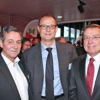 FritzBosshart (président de la section UPSA de Zurich), GiorgioFeitknecht (membre de la direction de l'ESA) et CharlesBlättler (président de la direction d'ESA)