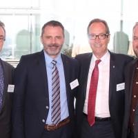 Da sinistra: Matthias Ehinger (Multipart Garantie AG), Christoph Kissling (Rhiag), Urs Wernli (Presidente centrale dell UPSA) e Roger Hunziker (Rhiag)